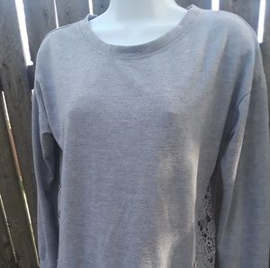Almost Famous Womens Gray Pullover Top Lace Sz S